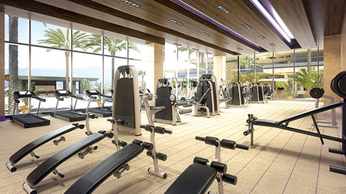 The full-service fitness center inside M Resort.