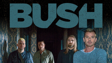 The four members of the band Bush with the name of the band above them in blue.