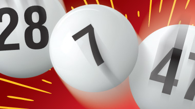 Three white, numbered lottery balls bouncing on a red background.