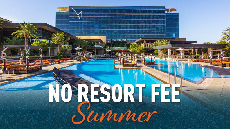 "hotel hero shot with pool and text ""No Resort Fee Summer"""