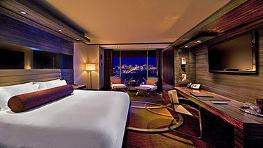 King bed in the M Resort Room with view of the Vegas Strip.